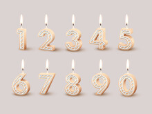 Birthday Number Candles For Anniversary Party Cake, 3d Candlelight Fire Design Collection