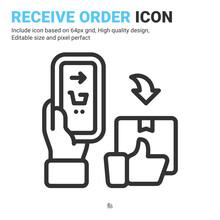 Click Buy And Collect Order Icon Isolated On White Background. Vector Design Delivery Services Steps, Receive Order In Pick Up Point Sign Symbol Icon Concept For Apps, Online Store. Editable Stroke