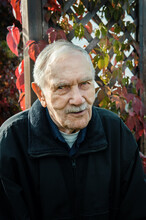 Portrait Of An Old Gray-haired Man In Autumn. A Gray-haired Man Of 88 Years Old Against The Background Of Beautiful Autumn Leaves, Close-up