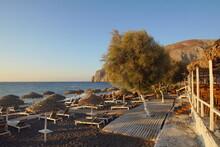 Morning View Of Kamari Beach, Santorini, Greece