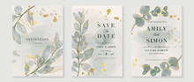 Green Luxury Wedding Invitation Card Background  With Golden Line Art Flower And Botanical Leaves, Organic Shapes, Watercolor. Abstract Art Background Vector Design For Wedding And Vip Cover Template.