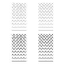 Set Of Wavy, Curvy, Zigzag Horizontal Lines. Vector Simple New Design Element