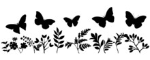 Butterflies With Grass And Flowers Silhouettes Svg Vector Illustration, All Separated