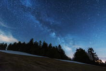 Bright Starry Sky With The Milky Way On The Background Of High Tatras Mountains