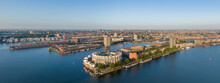 Aerial Panorama Of Eastern Docklands Residential Area In Amsterdam