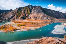 Confluence Of Chuya And Katun Rivers In Altai Mountains, Siberia, Russia. Beautiful Autumn Landscape. Famous Tourist Landmark
