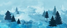 Winter Forest Panorama. Pine Trees, Snow Banks. Winter Landscape With Blue Watercolor Background