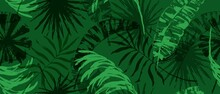 Modern Exotic Seamless Pattern. Tropical Leaves. Palm Foliage. Print For Luxury Fashion Fabric, Clothes, Wallpaper.