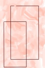 Abstract Red Rectangle Shapes On Delicate Peach Orange Watercolor Gouache Paint Brush Strokes Minimalist Background