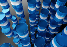 Blue Metal Barrels. Barrels For Chemicals Are Hanging In Air. Barrels For Chemistry.  Metal Containers. Chemical Industry. Chemistry Warehouse. Package Concept. Storage And Transportation Of Oil. 3d