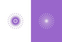 Ornamental Design With Bright Light Purple Abstract Circle Pattern. Lineart And Fill