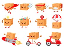 Cardboard Box Character. Fast Delivery Service Mascot. Cartoon Boxes With Faces. Shipping Package On Parachute. Happy Purchase Vector Set