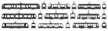 Tram Vector Black Set Icon. Vector Illustration Streetcar On White Background. Isolated Black Set Icon Tram.