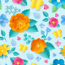 Paper Cut Flower Pattern. Spring Orange Poppy, Wildflower, Leaves And Butterfly. Meadow Blossom 3d Origami. Floral Vector Seamless Wallpaper