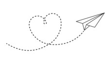 Paper Plane With Heart Path. Flying Airplane With Dotted Air Route In Heart Form, Romantic Or Message Valentine Day Card Vector Design