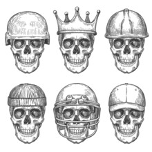 Skull In Hats. Dead Head Characters With Crown, Baseball Cap And Helmets Monochrome Drawing Art Print For Shirt Design Or Tattoo Vector Set