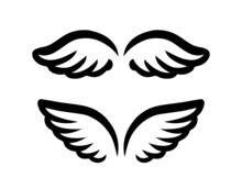 Wings For Logo And Branding Element. Hand Drawn Set Of Feathers Vector Illustration