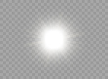 Icon With Bright Flash Of Light. Dazzling Sun, Star, Flashlight Or Beam. Lighting Device. Design Element For Posters And Websites. Realistic 3D Vector Illustration Isolated On Transparent Background
