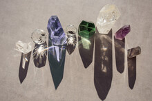 Flat Lay Of Beautiful Colorful Crystals. Top View Of Healing Minerals And Gemstoes
