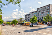 Patios And Shopping Streets In Old Town Montreal