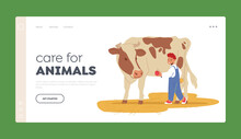 Care For Animals Landing Page Template. Kid Feeding Cow At Farm Or Outdoor Zoo Park. Little Boy Giving Apple To Calf