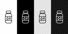Set Line Printer Ink Bottle Icon Isolated On Black And White Background. Vector