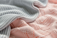 Texture Of Different Knitted Fabric With Folds As Background