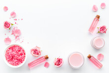 Essential Rose Oil With Cosmetic Products For Skin Care
