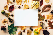 Autumn Flat Lay With Leaves, Pumpkins, Figs And Cones On Light Beige Background. Blank Paper Sheet In The Center. Mock Up, Top View, Copy Space