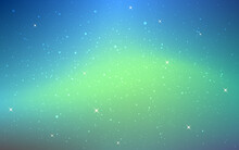 Aurora Background. Space Texture With Northern Lights. Color Starry Cosmos With Nebula. Blue And Green Glow. Magic Universe With Stars. Beautiful Cosmic Wallpaper. Vector Illustration