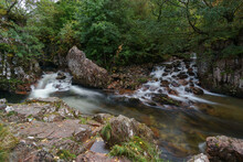 Long Exposure Of The Water Of Nevis At The Lower Falls In Glen Nevis, Scotland