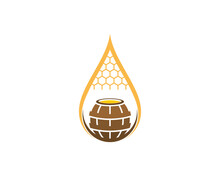 Honey Droplet With Barrel In The Middle