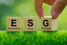 ESG Concept Of Environmental, Social And Governance.words ESG On A Woodblock It Is An Idea For Sustainable Organizational Development. account The Environment, Society And Corporate Governance