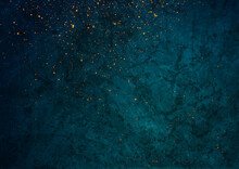 Dark Blue Grunge Texture Background With Small Golden Particles. Abstract Retro Vector Design