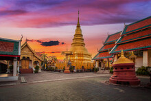 Wat Phra That Hariphunchai Was A Measure Of The Lamphun, Thailand