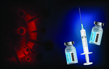 Covid-19 Vaccination Vector Background. Covid19 Coronavirus Vaccine Bottles And Syringe Injection Tools For Covid-19 Immunization With Space For Text In White Background. Vector Illustration.