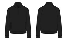 Long Sleeve With Short Zip Fleece Jacket Overall Technical Fashion Flat Sketch Vector Illustration Template Front, Back Views. Apparel Sweater Jacket Light Black Color Mock Up CAD Isolated On White.