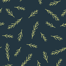Simple Seamless Pattern With Fir Branches On A Dark Background. Winter Vector Flat Illustration For Wallpaper, Wrapping Paper, Surface Design