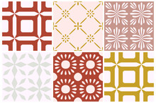 Tile Portugal Flower Seamless Pattern. Dusty Rose Color Geometric Background. Traditional Azulejo Repeat Ornament. Vector Monochrome Pattern.Abstract Vintage Print For Fabric,packaging.Scrapbook Paper