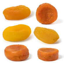 Set Of Dried Yellow And Orange Color Apricots Fruits. Front View. Full Depth Of Field. With Clipping Path