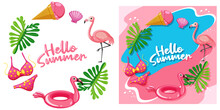 Different Hello Summer Banner Template In Flamingo Theme