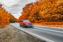Autumn Asphalt Road And Fast Fury Red Car In Motion On Cloudy Day. Travel Auto Trip Autumn Rain Road In Forest Under Dramatic Cloudy Sky. Fall Color