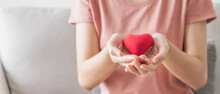 Woman Holding Red Heart, Love, Health Insurance, Donation, Happy Charity Volunteer, World Mental Health Day, World Heart Day, Valentine's Day