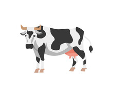 Holstein Cow With Black And White Spots In Flat Vector Illustration Isolated