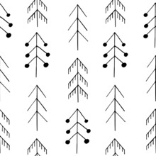 Christmas Trees Seamless Pattern Hand Drawn Doodle. Vector, Scandinavian, Nordic, Minimalism, Monochrome. Textiles, Wrapping Paper, Wallpaper. Winter, Forest, Christmas.