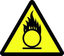 Caution Oxidizing Agent Symbol Safety Sign