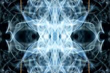 Abstract Graphics Black Blue Fractal Reflection Symbol, Design Effect Meditation Background