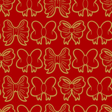 Gold Bow On Red Background Vector Seamless Pattern For Wallpaper, Wrapping, Packing, And Backdrop.