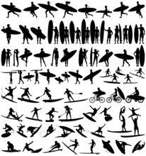 Surfboard Riders Man  Woman And Child Surfing Silhouettes Vector Collection