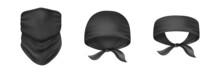 Black Bandana, Scarf, Buff Set. Headbands Mockup. Protective Clothing. Realistic Vector Illustration Isolated On White Background